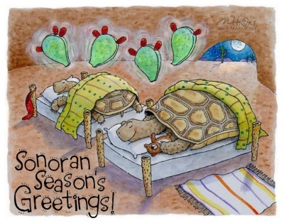 Sonoran Season's greetings from illustrator Mark A. Hicks. Art from the book Coyote Claus: A Southwestern Desert Tale.