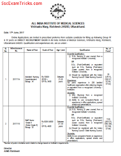 AIIMS Rishikesh Assistant Nursing Superintendent and Staff Nurse Grade II Recruitment 2017