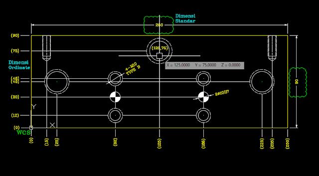 Belajar koordinat Autocad,fungsi koordinat autocad,ordinate dimensi