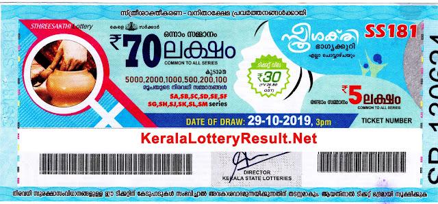 kerala lottery result 29-10-2019 Sthree Sakthi