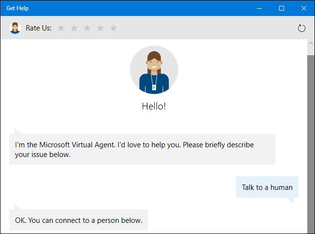طلب وكيل الدعم الظاهري لممثل بشري على نظام التشغيل Windows 10