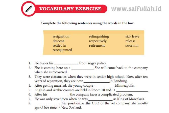 Chapter 10 Halaman 137-138 Vocabulary Exercise (Pembahasan Soal Bahasa Inggris)