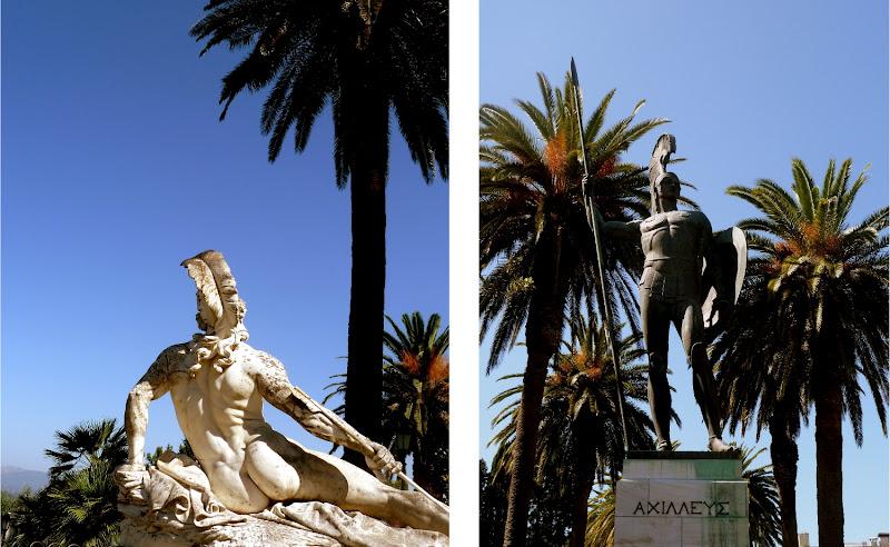 Sterbend und siegreich: Statuen des Achilles im Park des Achilleion Palast Korfu