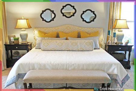 غرفة نوم رمادية مريحة مع اللون الأصفر