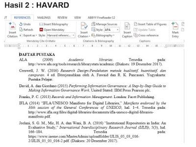 Contoh daftar pustaka harvard di Mendeley