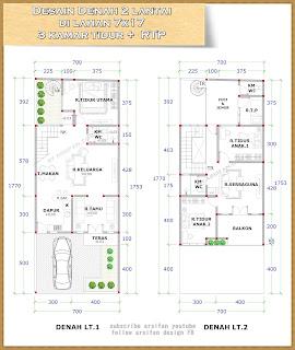 desain rumah 2 lantai kamar tidur, desain denah rumah 2 lantai lebar 7 meter, desain denah rumah arsifan