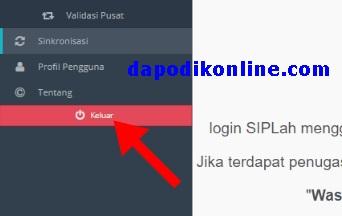 Logout dari aplikasi Dapodik