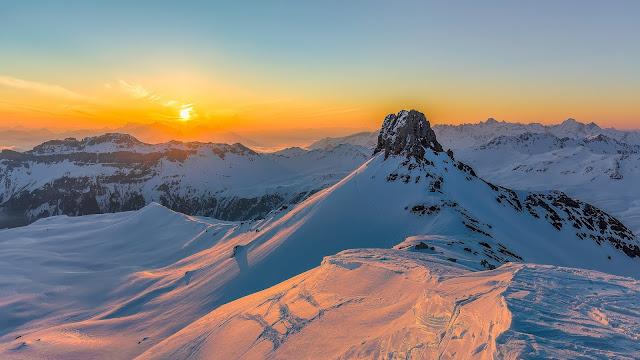 Montanhas, Neve, Pôr do sol, Rochas