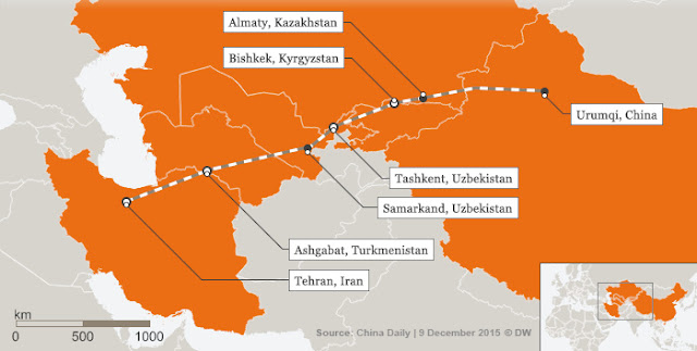 Map Attribute: Iran-China Silk Route Rail Link / Source: China Daily/DW