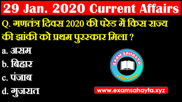 29 January 2020 Current Affairs In Hindi