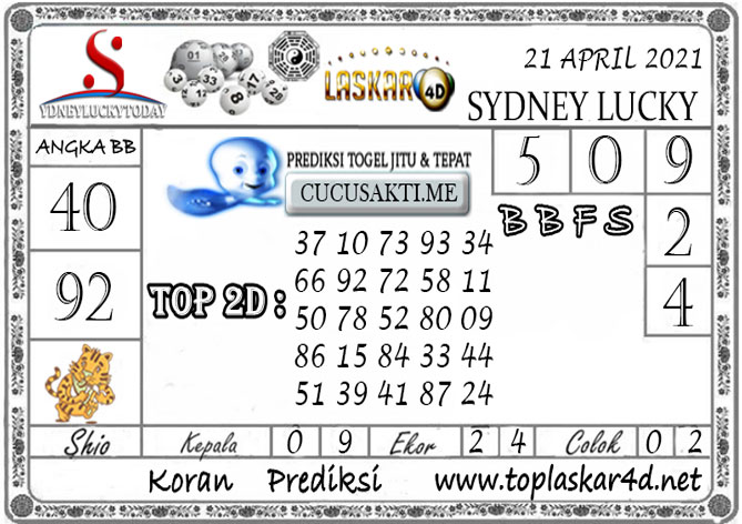 Prediksi Sydney Lucky Today LASKAR4D 21 APRIL 2021