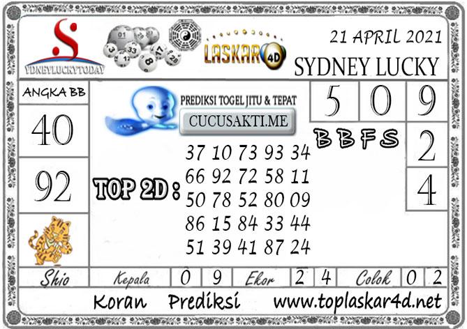 Prediksi Sydney Lucky Today LASKAR4D 21 APRIL 2021