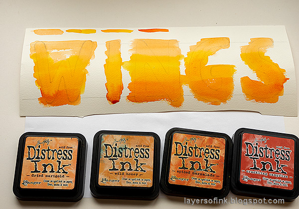 Layers of ink - Brave Wings Art Journal Page Tutorial by Anna-Karin Evaldsson. Paint the letters with ink.