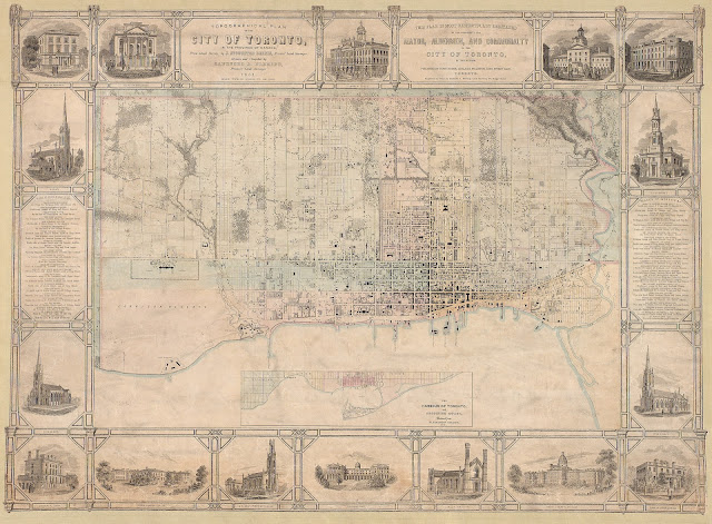 1851 Topographical Plan of the City of Toronto by Fleming