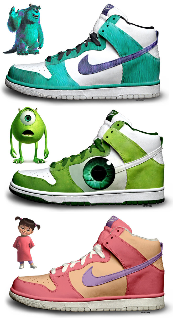 864dc969c0c0 Nike Dunks Custom Design Sneakers   Monsters Inc Nike Dunk SB High ...