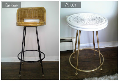 wicker mid century modern vintage bar stool side table rattan bamboo gloss white gold brass