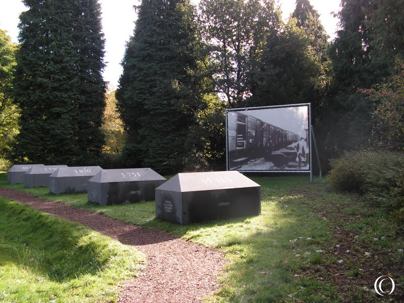 Memorial stones for the deportations at Camp Westerbork, the Netherlands