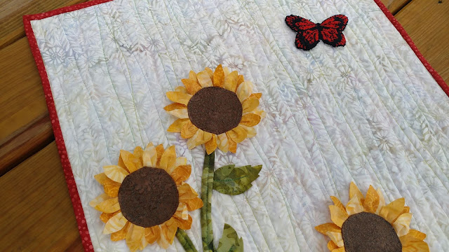 Sunflower and butterfly art mini quilt