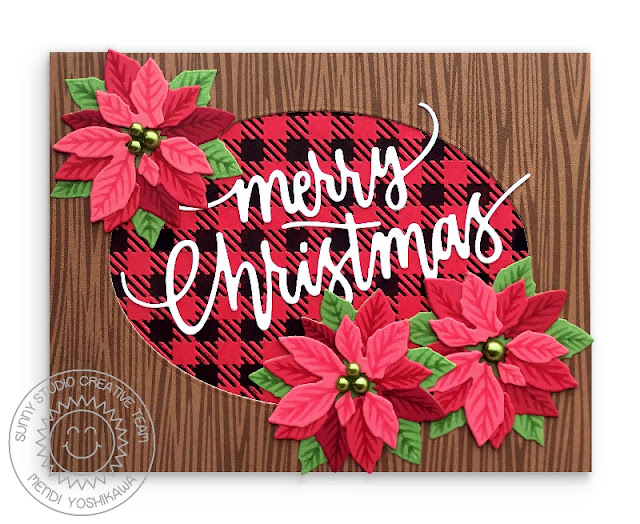 Sunny Studio Stamps: Layered Poinsettia Holiday Christmas Card (using Amazing Argyle Paper, Buffalo Plaid Embossing Folder & Merry Christmas Greeting from Christmas Garland Frame Die)