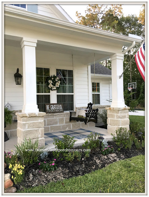 Suburban Farmhouse Front Porch-Porch Swing-Porch Decor-Outdoor Plaid Rug-From My Front Porch To Yours
