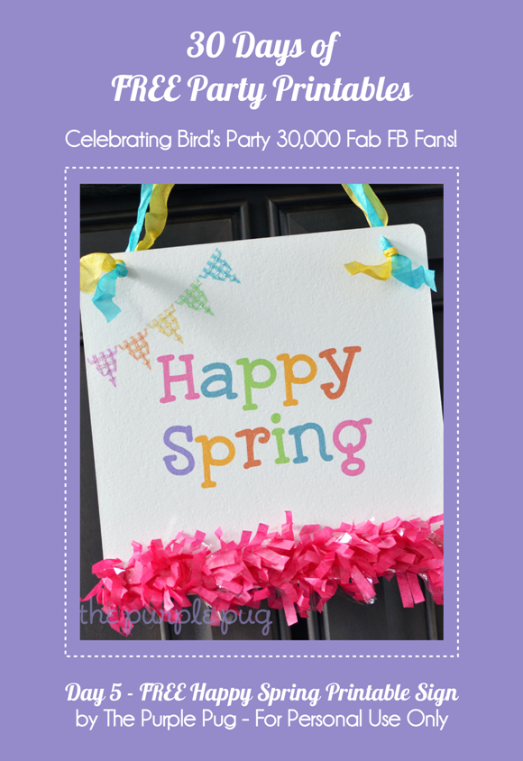 Free Printable Happy Spring Banner  - via BirdsParty.com
