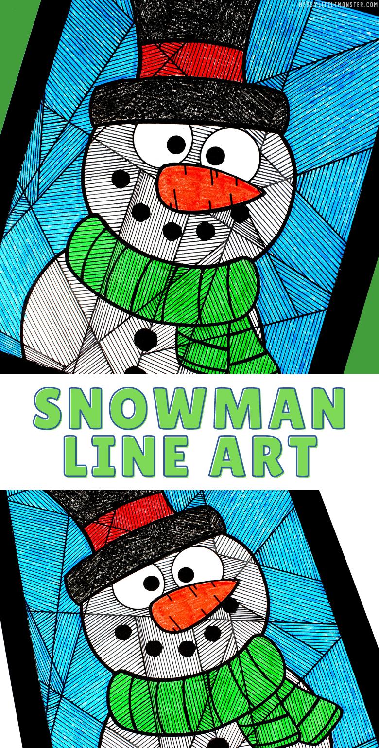 Printable snowman colouring page. Snowman line art for kids.