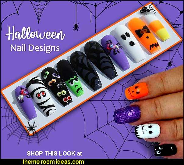 Monster Mash Halloween Nails Halloween Press On Nails with ghosts and pumpkins