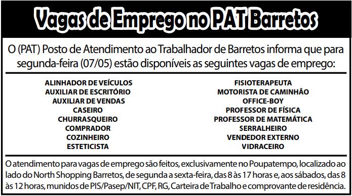VAGAS DE EMPREGO DO PAT BARRETOS-SP PARA 07/05/2018 (SEGUNDA-FEIRA)