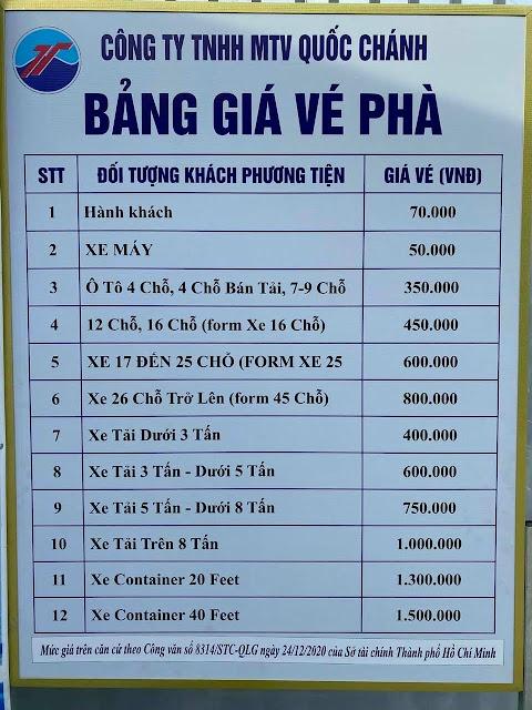 giá vé phà vũng tàu cần giờ