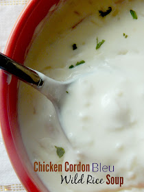 Chicken Cordon Bleu Wild Rice Soup...the classic dish is turned into soup and bulked up with hearty rice!  Truly comfort in a bowl. (sweetandsavoryfood.com)