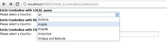 Programmers Sample Guide: ExtJs 4 ComboBox tutorial using Java
