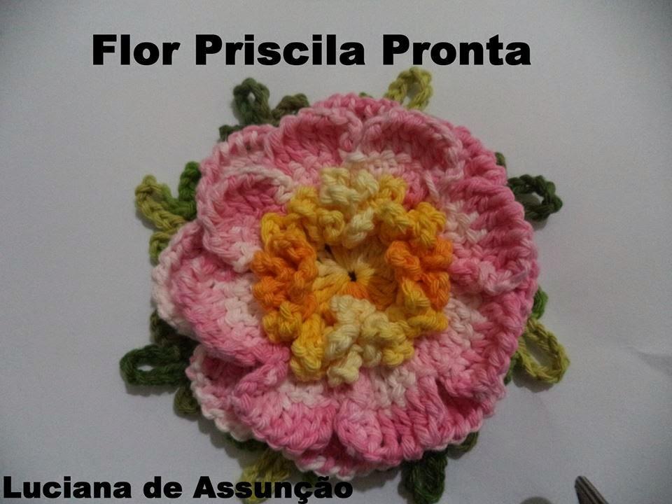 Vanecroche e patch  Flor Priscila cochê com passo a passo f3146ca9c68
