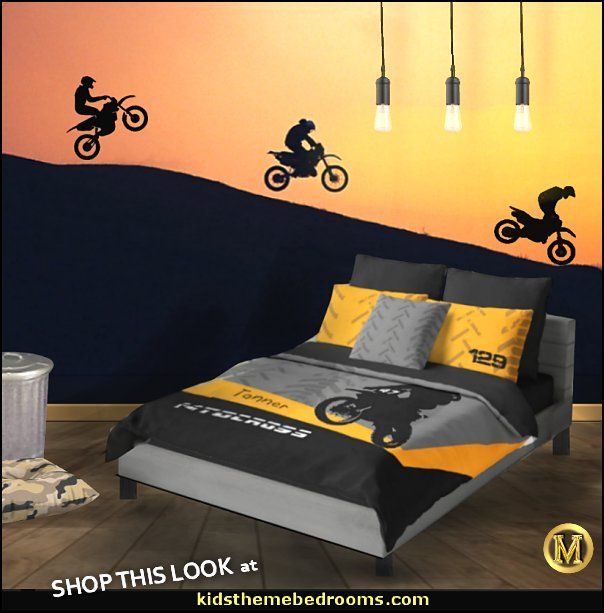 Motocross bedroom ideas - Dirt bike room decor - Dirt bike wall art - Motocross bedding