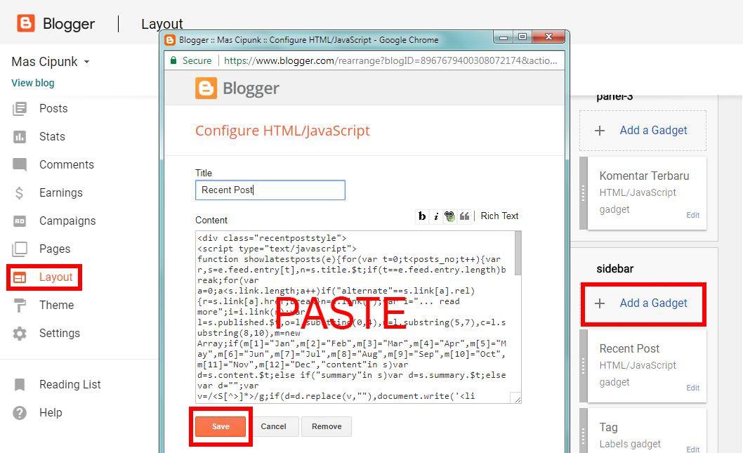 cara menambahkan widget postingan terbaru keren di blog