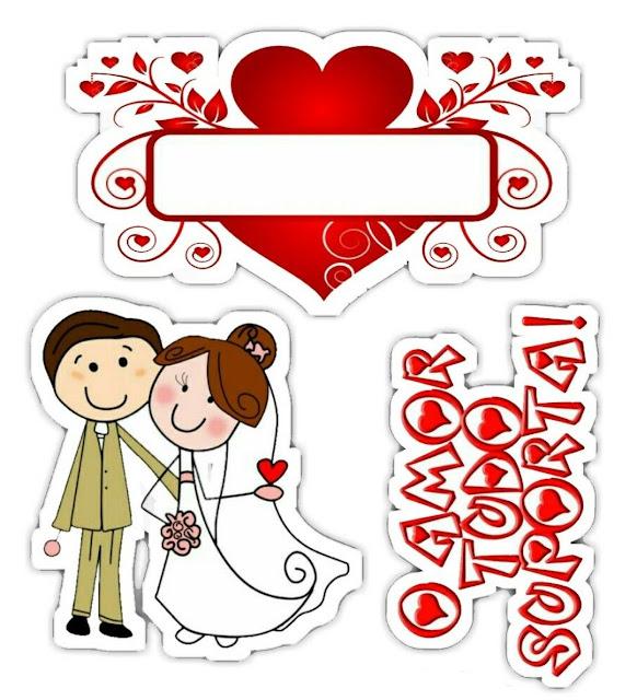 Pareja el Amor todo lo Soporta: Toppers para Tartas, Bizcochos o Pasteles para Imprimir Gratis.