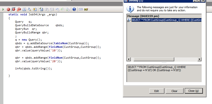 Dynamics AX blog: X++ code to define OR conditions in