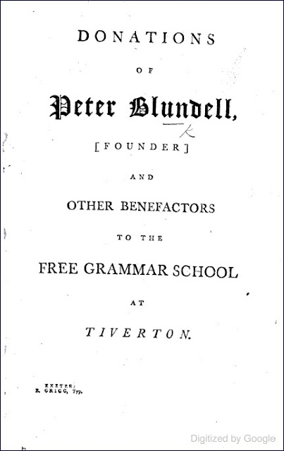 Donations of Peter Blundell, Founder, and other Benefactors to the Free Grammar School at Tiverton