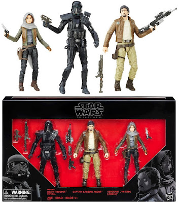 Star Wars Rogue One The Black Series 6 Inch Action Figure 3 Pack - Imperial Death Trooper, Captain Cassian Andor & Sergeant Jyn Erso (Jedha)