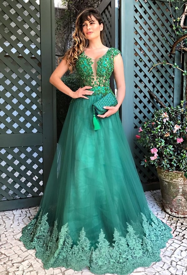 vestido de festa longo verde esmeralda estilo princesa