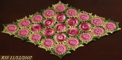 Red and Green Flower Diamond Doily - Hand-Crocheted by RSS Designs In Fiber - Sold - Email For Custom Order Request