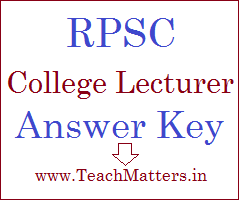 image : RPSC College Lecturer Answer Key 2021 @ www.TeachMatters.in