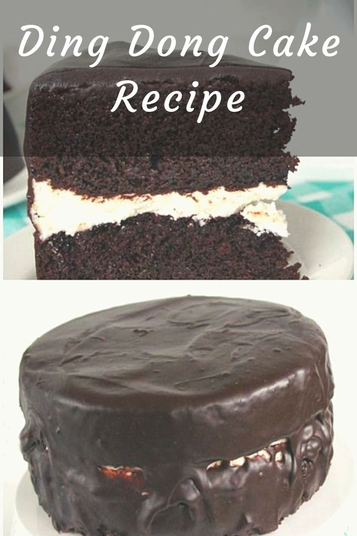 Ding Dong Cake-rich devil's food cake, a vanilla cream filling and smothered in chocolate ganache! Ding Dongs, Ring Dings, Swiss Rolls, Hostess Cakes. They are all pretty much the same snack. Chocolate Cake, a cream filling and then covered in chocolate.