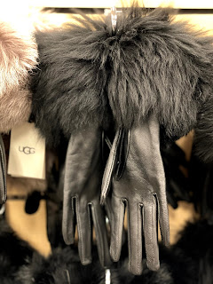 Black Leather gloves with faux fur black trim