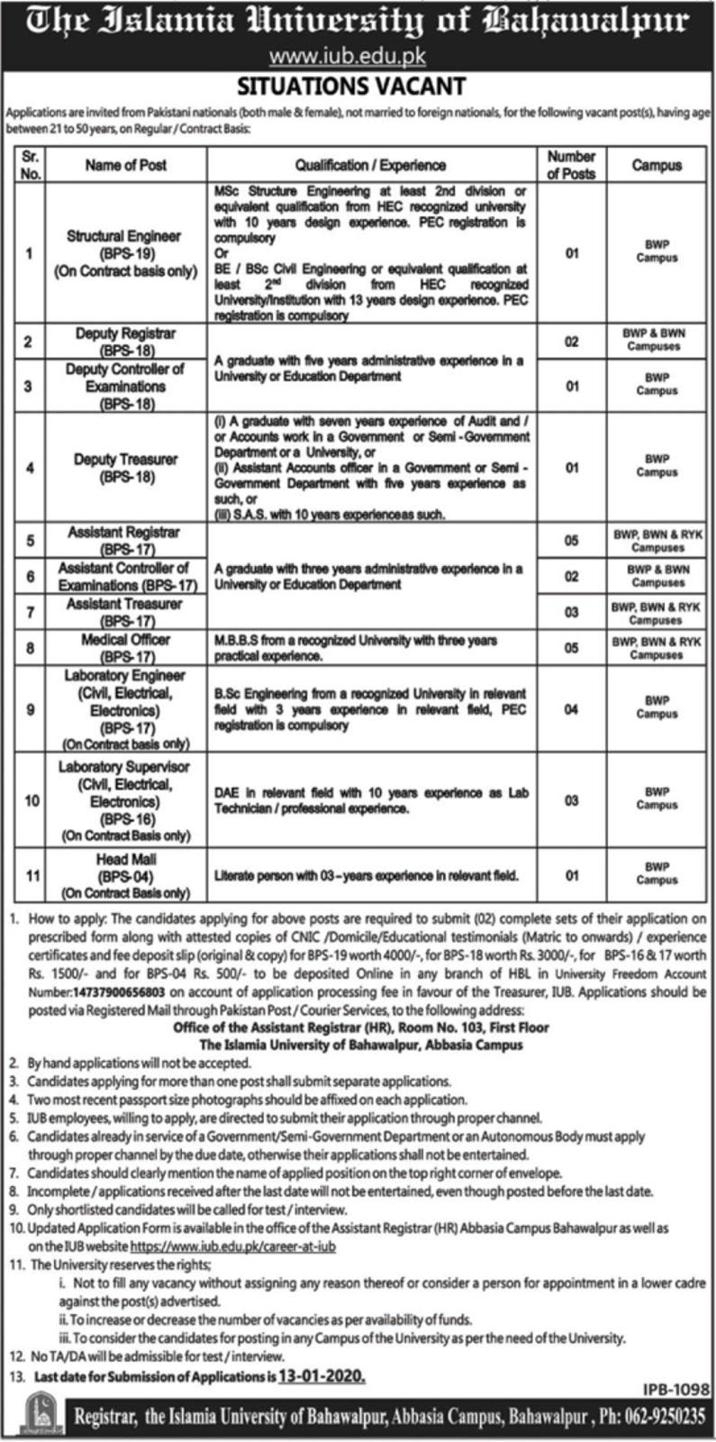 Latest IUB Bahawalpur Jobs 2019 Islamia University of Bahawalpur Apply Online