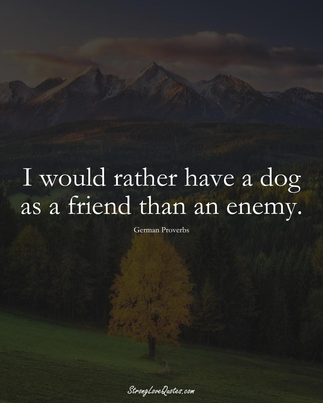 I would rather have a dog as a friend than an enemy. (German Sayings);  #EuropeanSayings