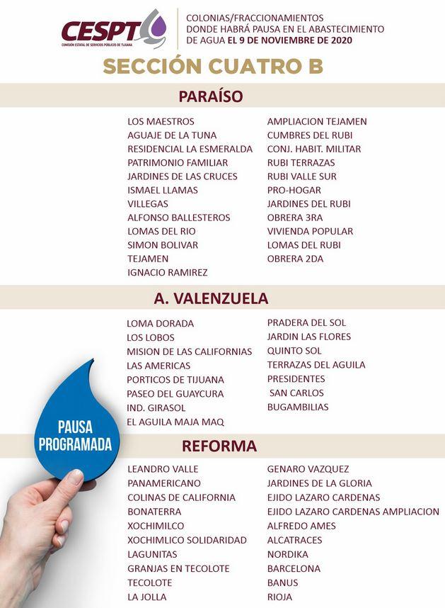 Colonias donde no habrá agua este 9 de noviembre en Tijuana