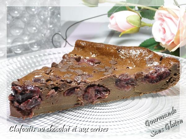 Clafoutis au chocolat et aux cerises sans gluten et sans lactose
