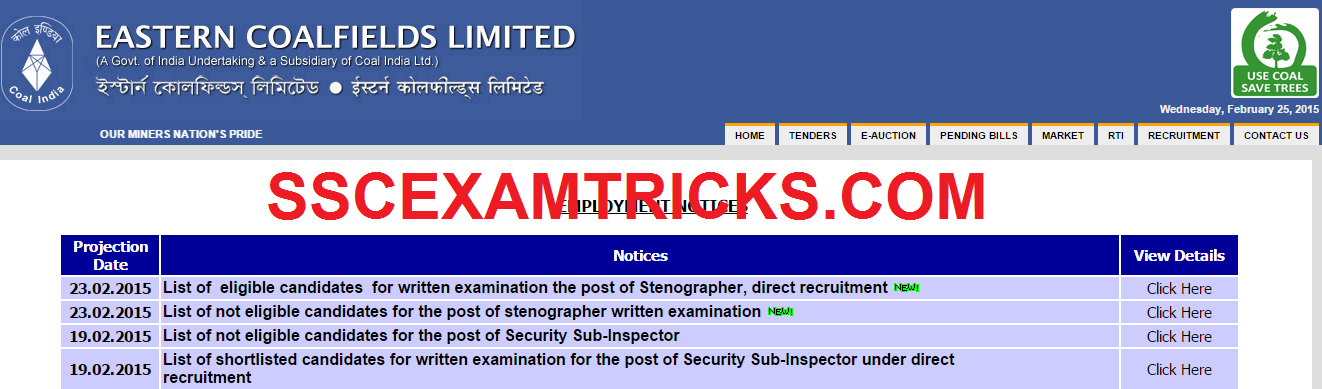 ECL STENOGRAPHER EXAM 2015 ADMIT CARDS