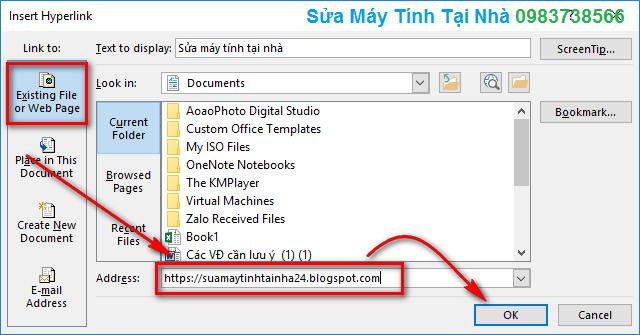 Chèn Hyperlink trong Excel