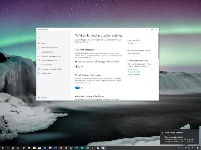 تم تعطيل Windows 10 مع Defender Antivirus